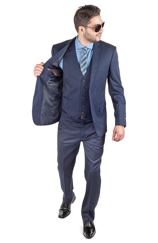 Slim Fit Suit 3 Piece Vested 2 Button Solid Navy bluee Notch Lapel By AZAR MAN