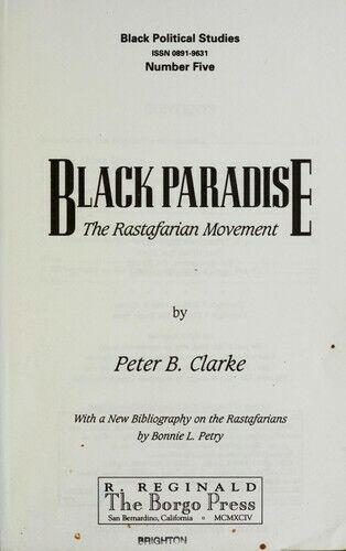 Black Paradise : The Rastafarian Movement Paperback Peter B. Clarke