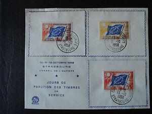 Europarat Dienstmarken Mi-Nr. 2-3-5 FDC Sammlerkärtchen 1958 - Deutschland - Europarat Dienstmarken Mi-Nr. 2-3-5 FDC Sammlerkärtchen 1958 - Deutschland