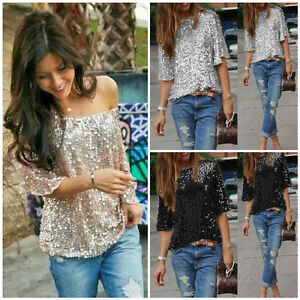 Women-Sequin-Sparkle-Glitter-3-4-Sleeve-Cocktail-Party-Tops-Blouse-T-Shirt-In-UK