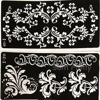 1Pc Mehndi Henna Art Stencil Template Temporary Airbrush Body Tattoo 4 Patterns