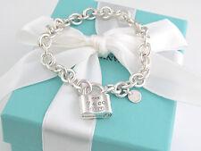 Tiffany & Co 1837 Silver Padlock Lock Charm Bracelet Box Pouch Ribbon Included