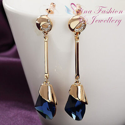 18K Yellow Gold Plated Simulated Glass Crystal Large Sapphire Long Earring
