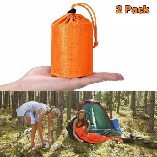 2Pcs Emergency Survival Bivvy Bag Waterproof Blanket PE Sleeping Bag Survival