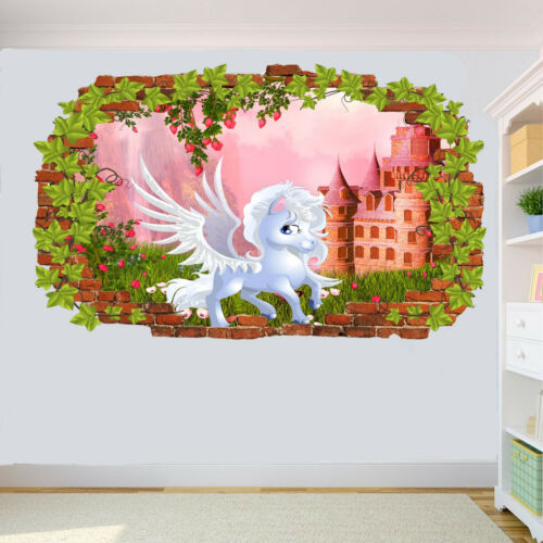 Flowers Princess Castle Unicorn Wall Sticker Ivy Effect Poster Decal Mural RA5