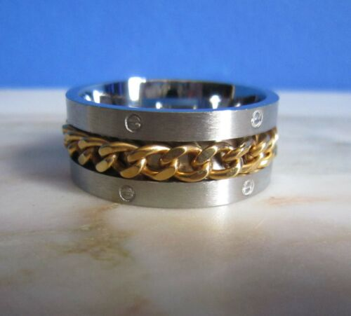 SUPERNOVA SCARVES Stainless Steel Spin Gold Chain Scarf Ring Indie Mod Retro 60s