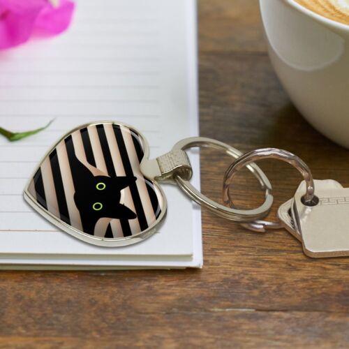 CHAT NOIR en Fenêtre COEUR LOVE en Métal Keychain Key Chain Ring