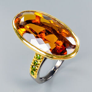 Vintage35ct-Natural-Cognac-Quartz-925-Sterling-Silver-Ring-Size-8-R101222