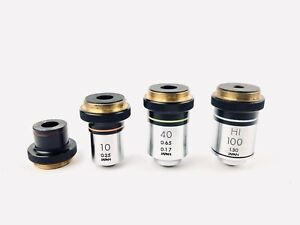 Olympus-Microscope-Objectives-4x-10x-40x-100x-Japan-REFURBISHED-Set-of-4
