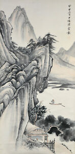 Vintage Cinese Watercolor Montagne Attaccatura A Parete Pergamena Dipinto Other Asian Antiques Chen Products Are Sold Without Limitations
