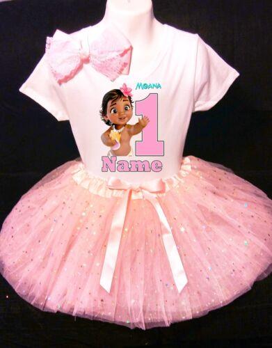 Moana Birth **With NAME** 1st First 1 Birthday Fuchsia Tutu party Dress invitat
