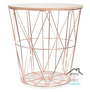 Gold wire side table wire center copper rose gold scandi geometric metal wire wood occasional modern rh m ebay ie gold wire frame side table rose gold wire side table keyboard keysfo Image collections
