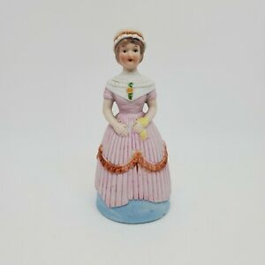 Vintage Flambro Victorian Lady Bell Fine Bisque Porcelain Figural Pink Dress Cap