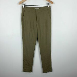 Amelius-Linen-Pants-Womens-Size-10-Green-Straight-Leg-With-Pockets-NWT