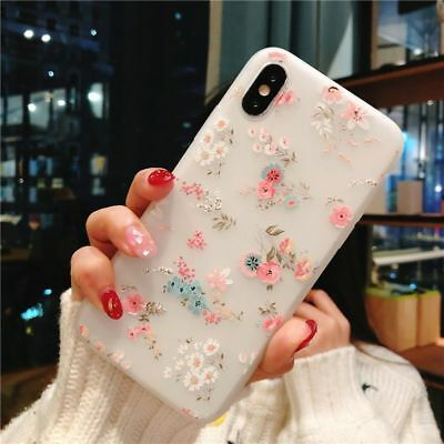 For iPhone X 8 6s 7 Plus Soft Clear Fllower Case Luxury Slim Relief Floral Cover