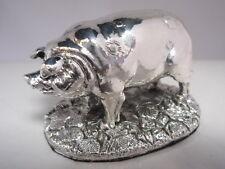 Stunning Hallmarked Sterling Silver Pig Statue
