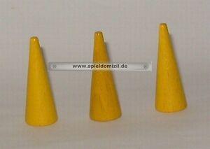 3 Kegel * HOLZ SPIELFIGUREN * Zipfelmützen Zauberhüte in GELB * 38 x 15 mm NEU