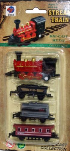 Tradicional pequeña Pull-back de metal fundido y plástico tren con 3 vagones