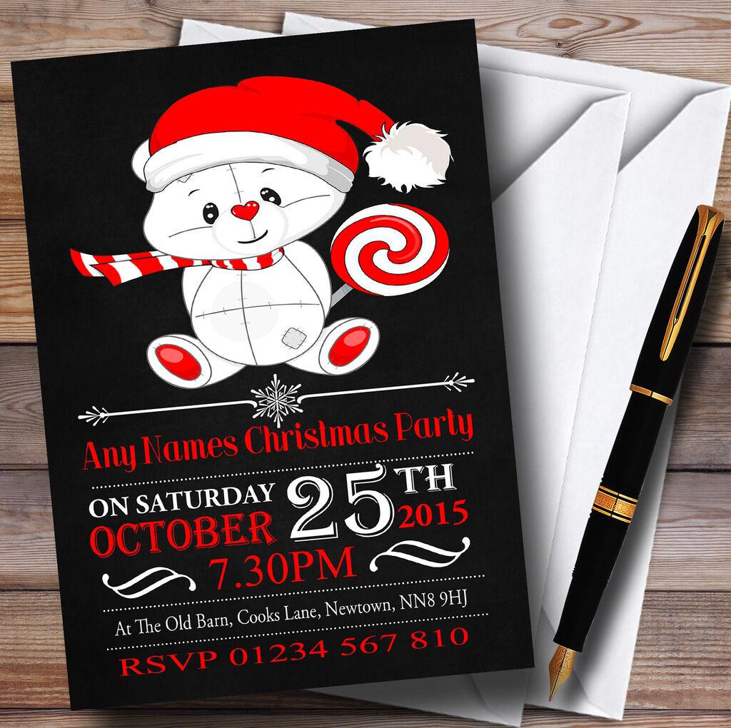 Craie effet ours party mignon & lolly personnalisé noël party ours invitations d396f7