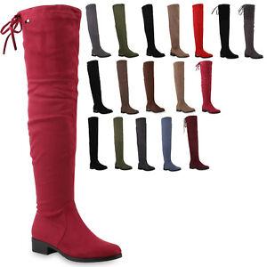 Details zu 892935 Gefütterte Damen Overknees Metallic Winter Stiefel Lederoptik Mode