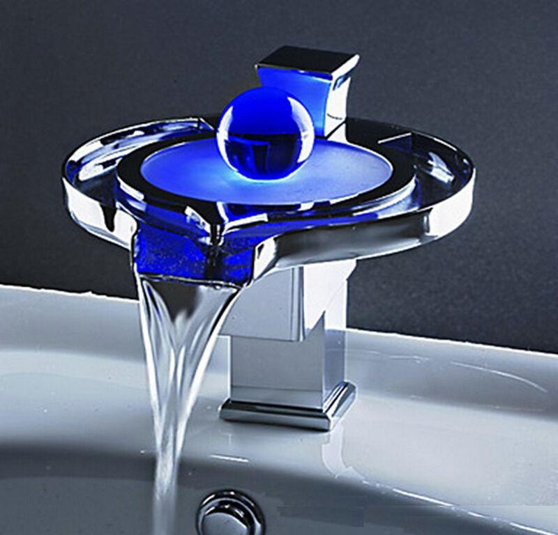 DEL robinet d'évier unique en laiton cascade salle de bains bassin mitigeur chrome
