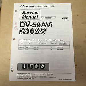 pioneer service manual for the dv 59avi 868avi s 668av s dvd player rh ebay com DVD Player Repair Near Me Portable DVD Player Repair