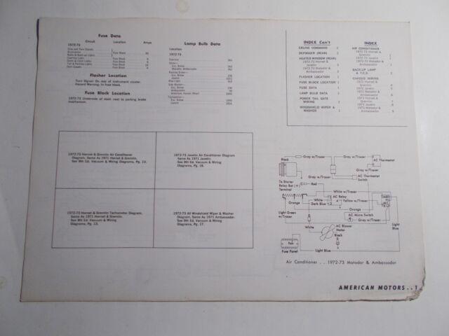 1972 1973 MOTOR AMERICAN MOTORS VACUUM & WIRING DIAGRAMS ...