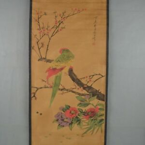 Chinese Scroll Painting, Calligraphy Flowers Bird Painting