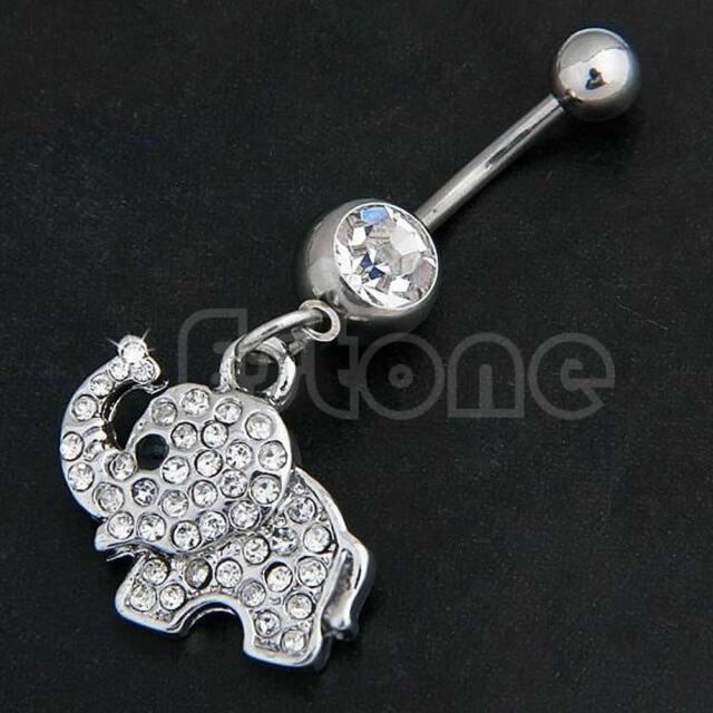 Steel Elephant Dangle Navel Belly Button Ring Bar Rhinestone Body Piercing