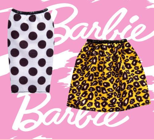 NEW 2 Barbie SKIRTS Fashionistas Fashion bottoms Polka Dot Cheetah retro clothes