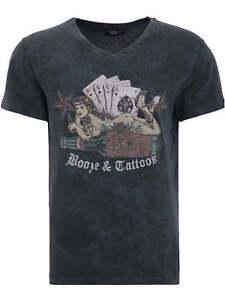 King-Kerosin-T-Shirt-Booze-And-Tattoos-Rockabilly-Rocknroll-Grau-Used-Look-5021