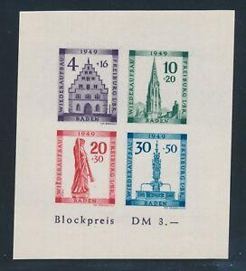BADEN-1949-Block-1-B-PLF-VI-034-Plattenfehler-034-Tadellos-Mi-300