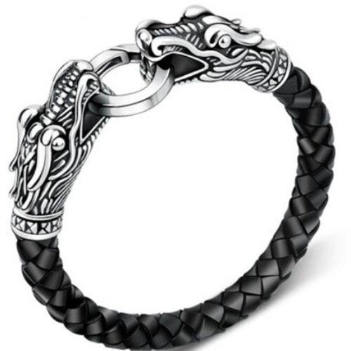 Bracciale braccialetto eco pelle drago per da uomo 2 DRAGHI NERO polso moda