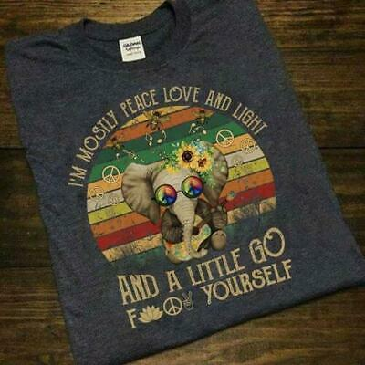 Limited Neu Yoga I/'m Mostly Peace Love and Light and A Little Go T shirt S-2XL