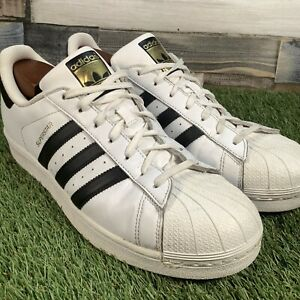 UK11-Adidas-Superstar-Shell-Toe-Trainers-VTG-Retro-Style-White-Black-EU46