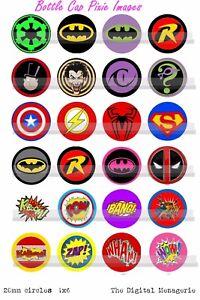 20mm Marvel Dc Super Hero Symbols Shields Comic Book Fight Words