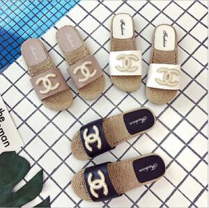 Womens-Girls-Slip-On-Pearl-Flat-SlidersSummer-Flip-Flops-Slipper-Mules-Sandals