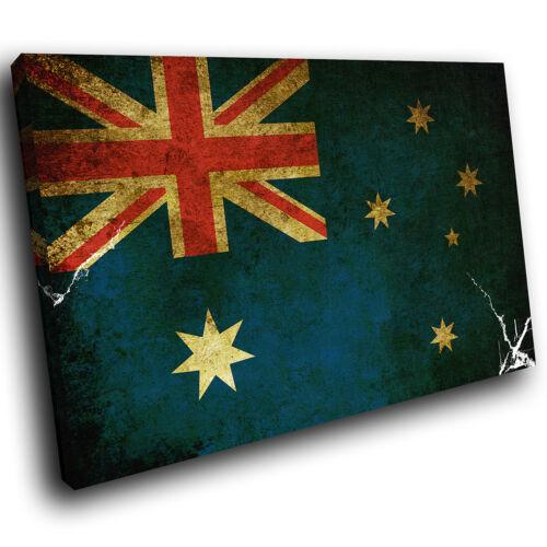 ZAB145 Australian Flag Grunge Blue Modern Canvas Abstract Wall Art Picture Print