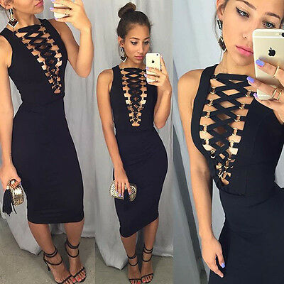 Women Sexy Sleeveless Clubwear Bandage Bodycon Party Evening Cocktail Mini Dress