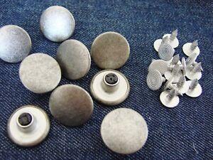 10-Jeansknoepfe-Jeansknopf-Metallknopf-Hose-Knopf-25mm-rostfrei-Alt-Silber-Mat