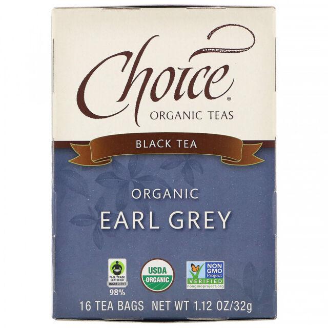 Choice Organic Teas, Organic Earl Grey, Black Tea, 16 Tea Bags, 1.12 Oz (32 G)
