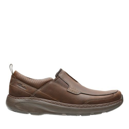 NEW MEN'S CLARKS BROWN LEATHER LOAFER SLIP ON CASUAL SHOES CHARTON STEP 14996