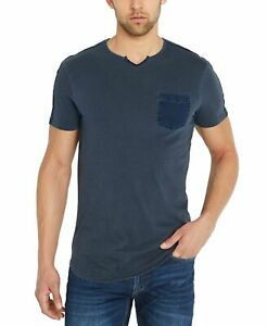 Buffalo-David-Bitton-Mens-T-Shirts-Blue-Size-XL-Notched-Collar-Tee-49-075