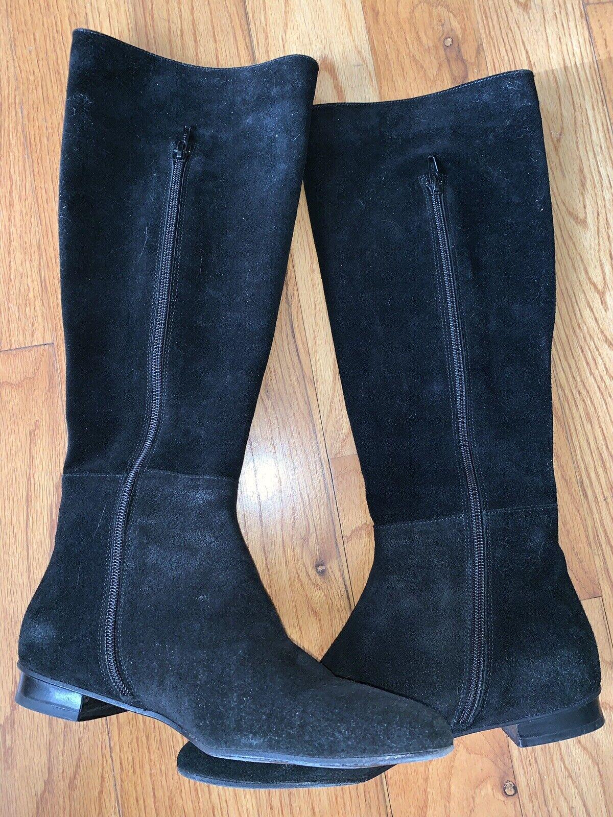 Delman Sz 6.5 Alto Cuero Negro por debajo de la rodilla botas Excelente condición hecho en España