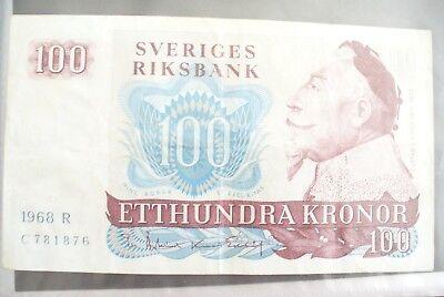 Goedkope Verkoop Ancien Billet - 100 Kronor SuÈde 1968 - Etat Ttb !!!