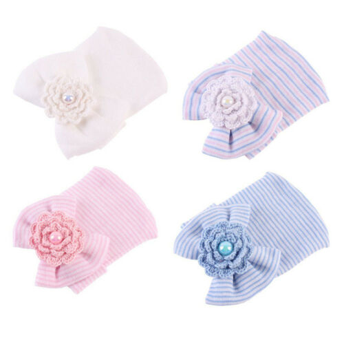 Sweet Newborn Baby Hospital Hat Beanie With Bows Soft Cute  Sweet Baby Caps