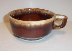 Hull Pottery Ovenproof Vintage Brown Drip Glazed Soup Mug Round Handled Bowl