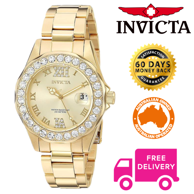 Invicta Pro Diver Ladies 18k Gold Plated Crystal Accent Sports Watch 15252