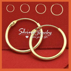 STERLING-SILVER-GOLD-GF-MENS-WOMENS-KID-Plain-HOOP-SLEEPER-EARRINGS-EAR-PIERCING