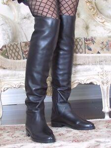 STUART-WEITZMAN-ROCKERCHIC-Black-Lamb-Leather-High-Over-the-knee-Boots-7-5-M